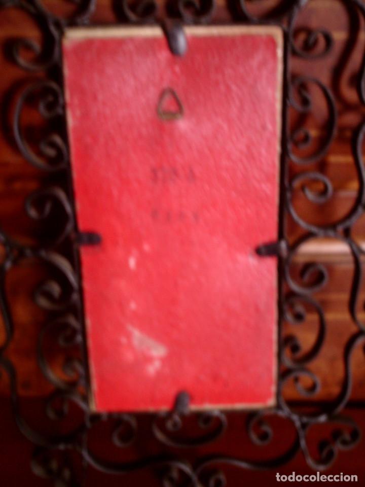 Antigüedades: AZULEJO DE RIBESALBES PINTADO A MANO Y ENMARCADO EN FORJA, MIDE 15 X 7,5, CON MARCO 24 X 17 CM. - Foto 4 - 79574125
