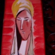 Antigüedades: AZULEJO DE RIBESALBES PINTADO A MANO,VIRGEN ENMARCADO EN FORJA, MIDE 15 X 7,5, CON MARCO 24 X 17 CM.. Lote 79574645