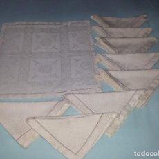 Antigüedades: OCHO SERVILLETAS ADAMASCADAS-BEIGE-ALGODÓN. Lote 79589849