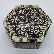 Antigüedades - Antigua caja joyero en madera con marquetería de nacar y hueso - 79613757