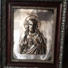 Antigüedades: SAGRADO CORAZÓN DE JESÚS ,PLACA EN RELIEVE METAL PLATEADO. Lote 79633245