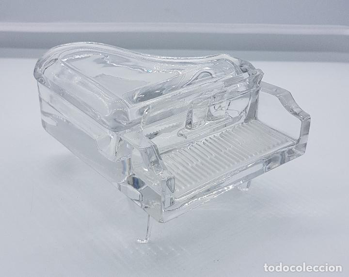 Antigüedades: Elegante Cofre joyero en cristal con forma de piano antiguo ingles - Foto 5 - 79635189