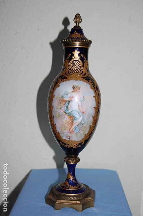 Antigüedades: ANTIGUA COPA EN PORCELANA Y METAL - Foto 3 - 79652697