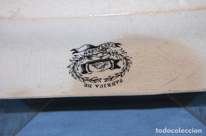 Antigüedades: FUENTE PLATO DE LA FABRICA CARTAGENA S.XIX - Foto 4 - 79662501