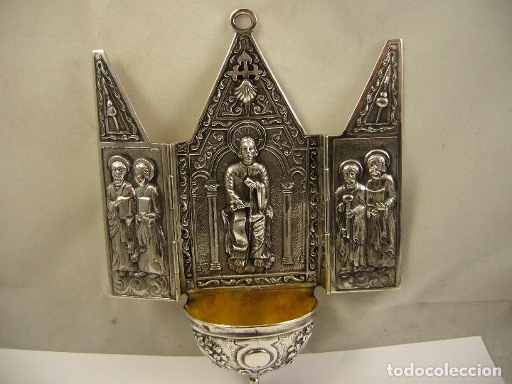 CAPILLA PILA BENDITERA EN PLATA DE LEY 925 (Antigüedades - Platería - Plata de Ley Antigua)