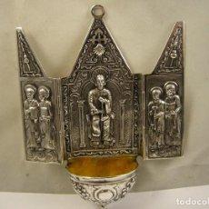 Antigüedades: CAPILLA PILA BENDITERA EN PLATA DE LEY 925. Lote 79671289