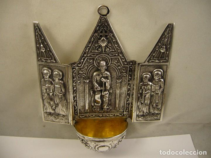 Antigüedades: CAPILLA PILA BENDITERA EN PLATA DE LEY 925 - Foto 7 - 79671289