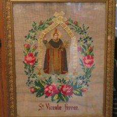 Antigüedades: ANTIGUO Y PRECIOSO BORDADO DE SAN VICENTE FERRER. FECHADO 1906. Lote 79687989