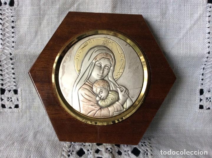 BONITA IMAGÉN DE LA VIRGÉN CON EL NIÑO JESÚS PLACA DE PLATA DE LEY 925ML (Antigüedades - Religiosas - Orfebrería Antigua)