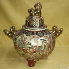 Antigüedades: GRAN TIBOR BOMBONERA PORCELANA SATSUMA. Lote 79755873