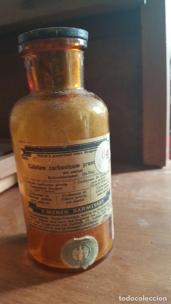 ANTIGUA BOTELLA DE FARMACIA CALCIUM CARBONICUM (Antigüedades - Cristal y Vidrio - Otros)