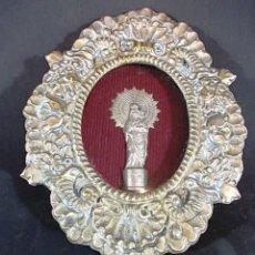 Antigüedades: ANTIGUO MARCO OVALADO LABRADO CON LA VIRGEN DEL PILAR. Lote 79789969