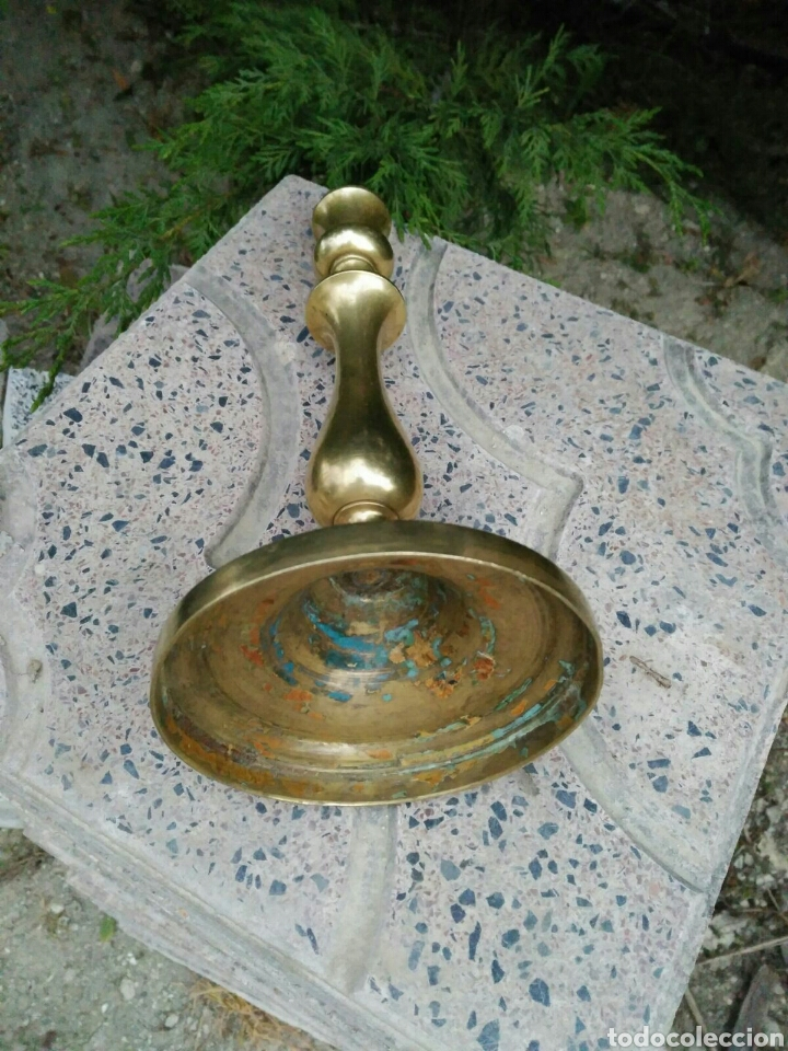 Antigüedades: Portavelas de bronce - Foto 3 - 79804045