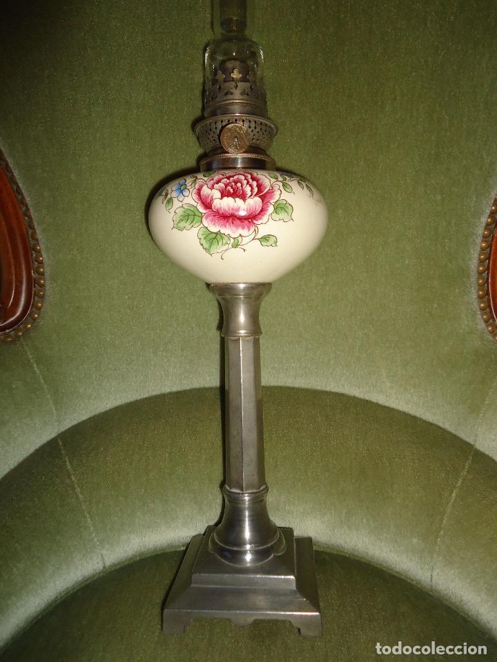 MAGNIFICO QUINQUE EN ESTAÑO SIGLO XIX LAMPARA MESA PETROLEO PRECIO 170 EUROS (Antigüedades - Iluminación - Quinqués Antiguos)