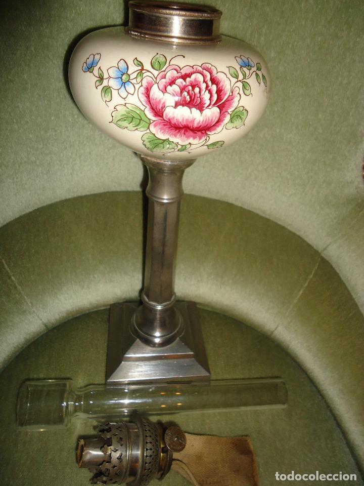 Antigüedades: MAGNIFICO QUINQUE EN ESTAÑO SIGLO XIX LAMPARA MESA PETROLEO PRECIO 170 euros - Foto 2 - 79824233