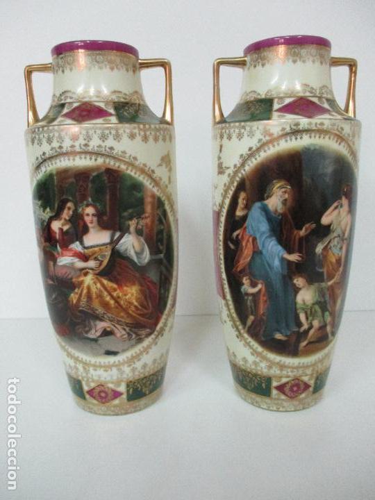 Antigüedades: Pareja de Jarrones - Porcelana - Alemanía - Esmaltada y Dorada - Sello Corona Imperial - S. XIX - Foto 3 - 79887213