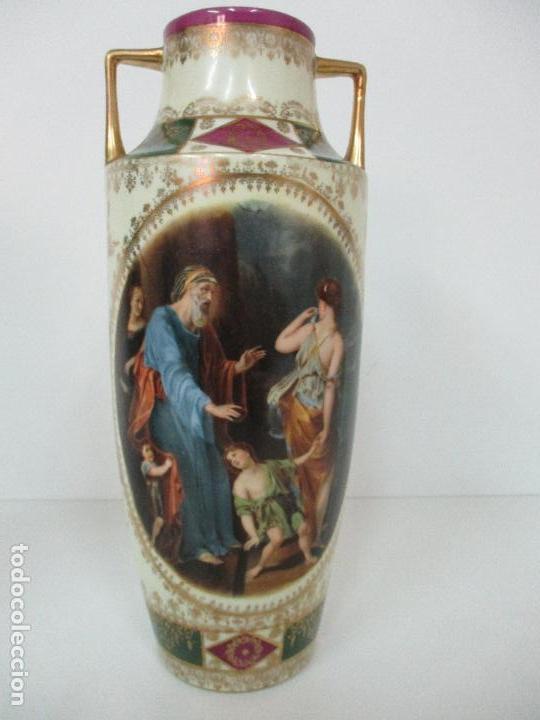 Antigüedades: Pareja de Jarrones - Porcelana - Alemanía - Esmaltada y Dorada - Sello Corona Imperial - S. XIX - Foto 4 - 79887213