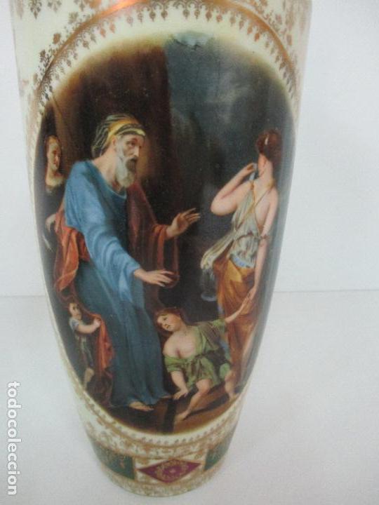 Antigüedades: Pareja de Jarrones - Porcelana - Alemanía - Esmaltada y Dorada - Sello Corona Imperial - S. XIX - Foto 5 - 79887213