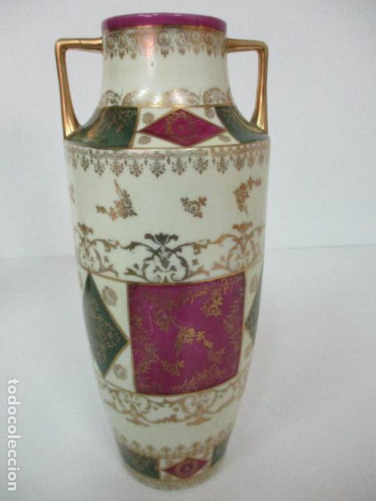 Antigüedades: Pareja de Jarrones - Porcelana - Alemanía - Esmaltada y Dorada - Sello Corona Imperial - S. XIX - Foto 12 - 79887213