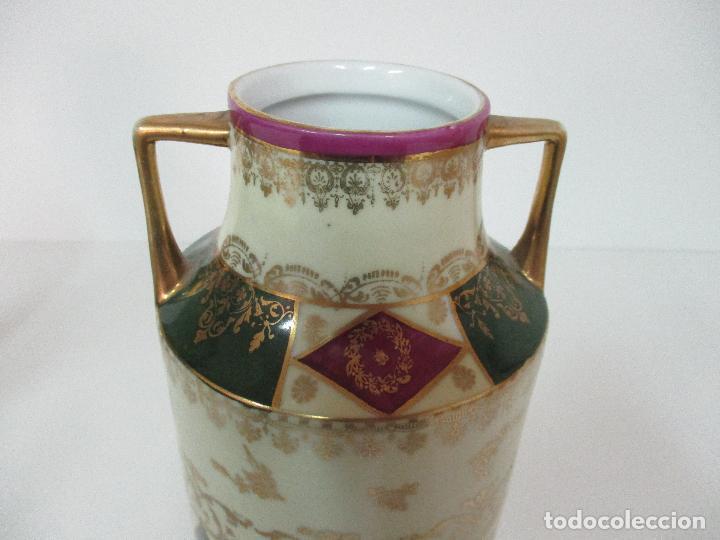 Antigüedades: Pareja de Jarrones - Porcelana - Alemanía - Esmaltada y Dorada - Sello Corona Imperial - S. XIX - Foto 13 - 79887213
