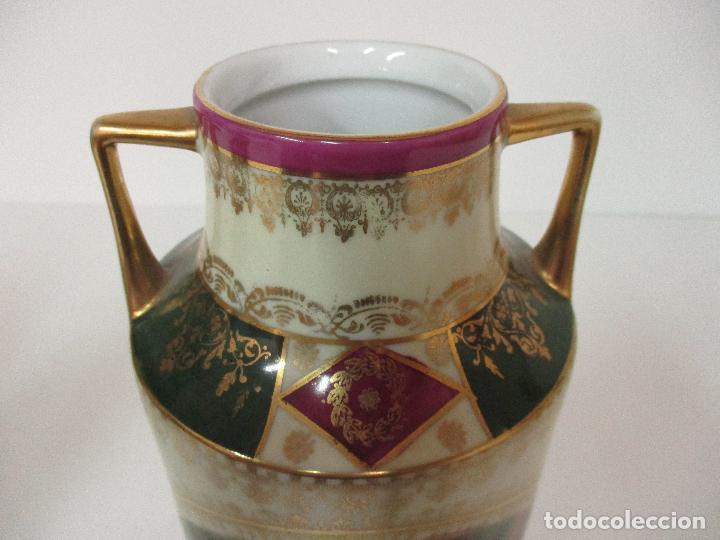 Antigüedades: Pareja de Jarrones - Porcelana - Alemanía - Esmaltada y Dorada - Sello Corona Imperial - S. XIX - Foto 23 - 79887213