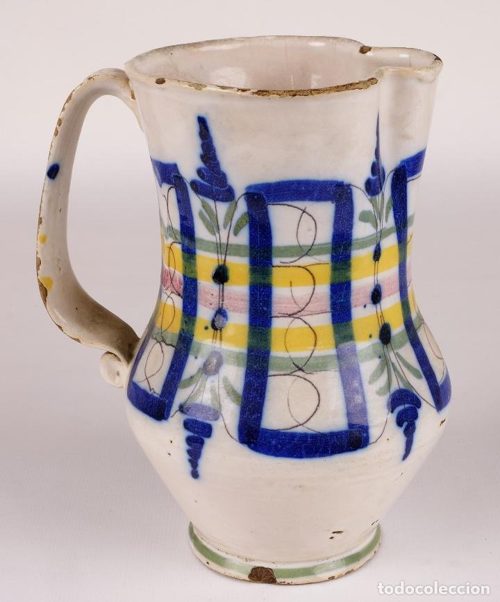 Antigüedades: Jarra en cerámica levantina colores principios siglo XX - Foto 2 - 79895745