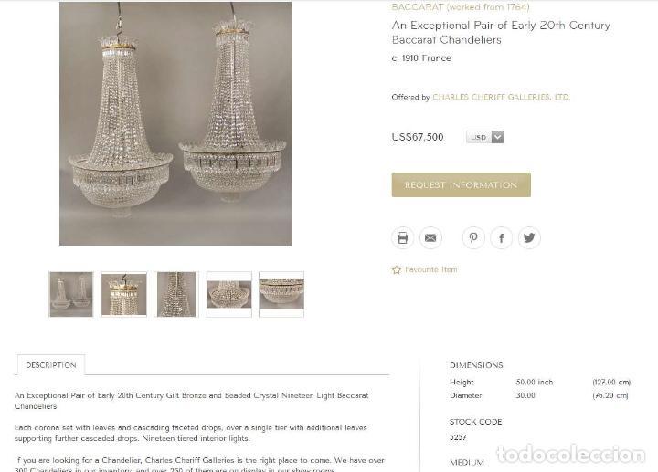 Antigüedades: BESTIAL LAMPARA VIP ANTIGUA 175CM CRISTAL BACCARAT FRANCIA SACO IMPERIO 1940 GRAN HOTEL TIENDA - Foto 10 - 75734619
