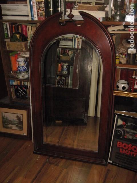 espejo grande de pared cristal biselado con punta copete x cm antigedades