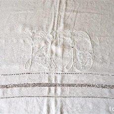 Antigüedades: SÁBANAS DE HILO BORDADAS 10. Lote 80013181