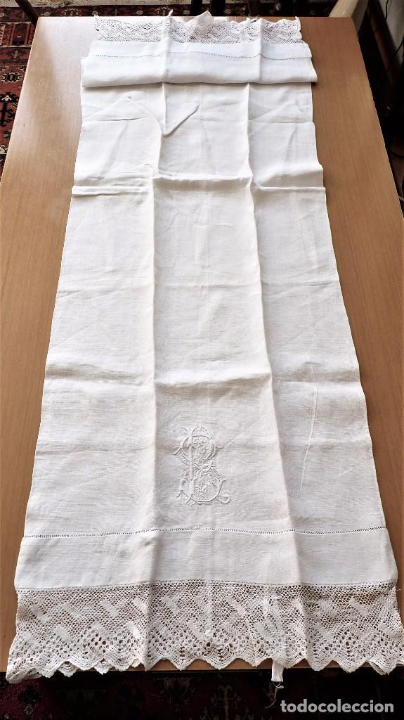 Antigüedades: Juego de 6 fundas de almohada de hilo bordadas - Foto 3 - 80014229