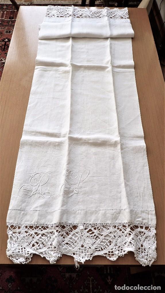 Antigüedades: Juego de 6 fundas de almohada de hilo bordadas - Foto 5 - 80014229