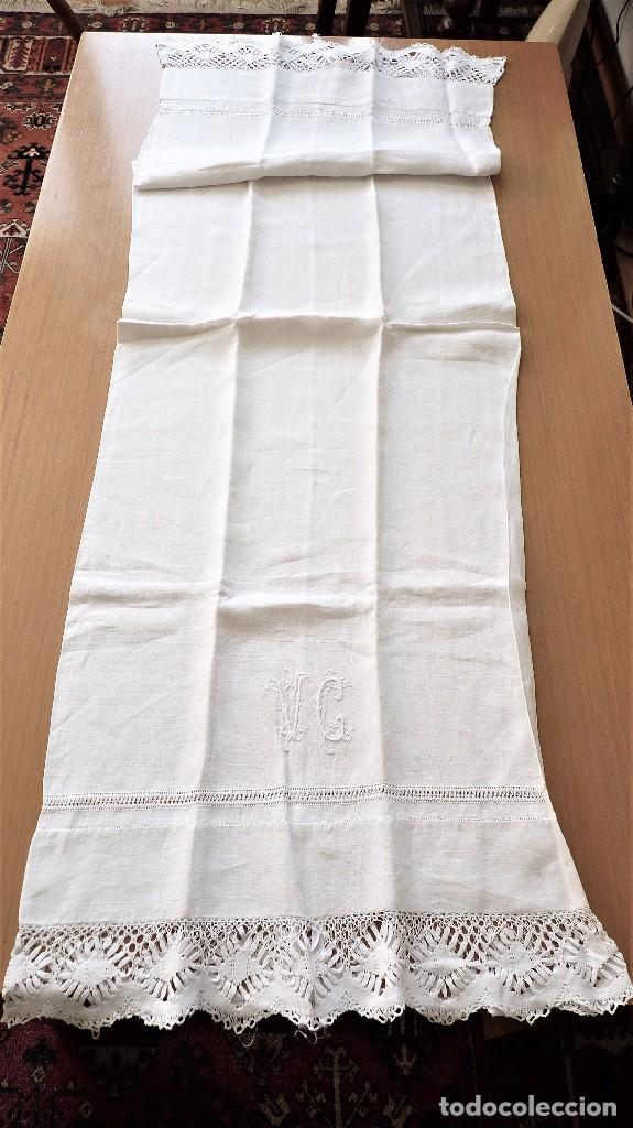 Antigüedades: Juego de 6 fundas de almohada de hilo bordadas - Foto 11 - 80014229