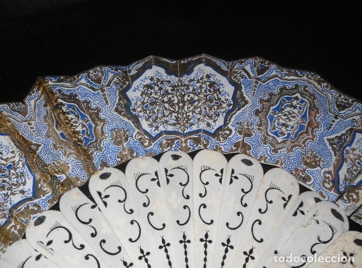 ANTIGUO ABANICO DE MARFIL CON MAGNIFICA DECORACION (Antigüedades - Moda - Abanicos Antiguos)