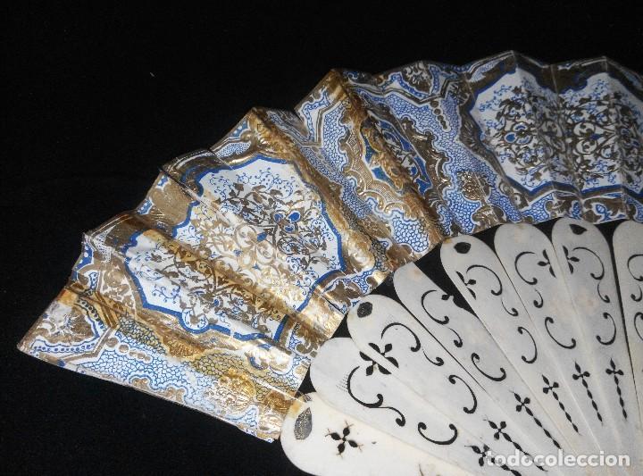 Antigüedades: ANTIGUO ABANICO DE MARFIL CON MAGNIFICA DECORACION - Foto 2 - 80045429