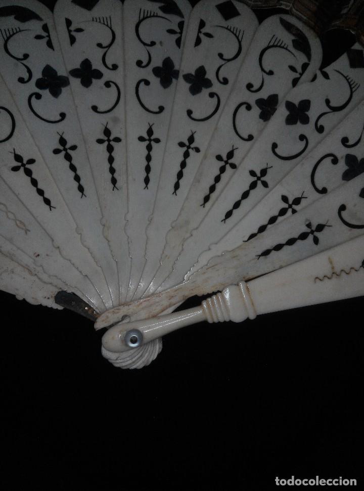 Antigüedades: ANTIGUO ABANICO DE MARFIL CON MAGNIFICA DECORACION - Foto 4 - 80045429