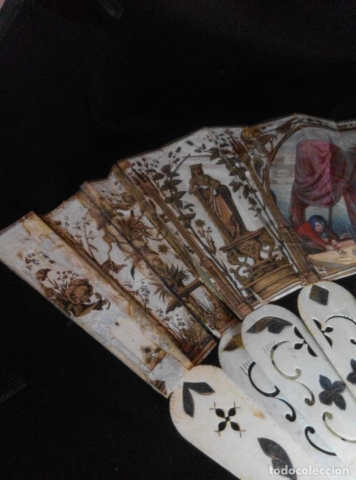 Antigüedades: ANTIGUO ABANICO DE MARFIL CON MAGNIFICA DECORACION - Foto 6 - 80045429