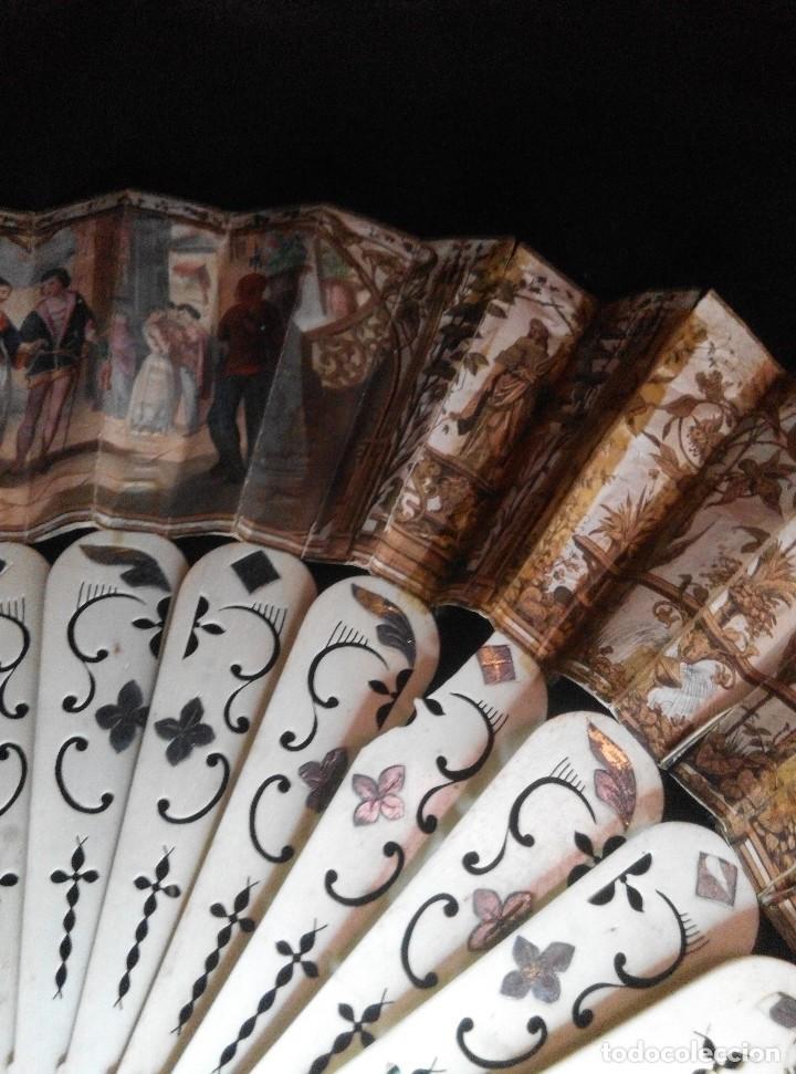 Antigüedades: ANTIGUO ABANICO DE MARFIL CON MAGNIFICA DECORACION - Foto 8 - 80045429