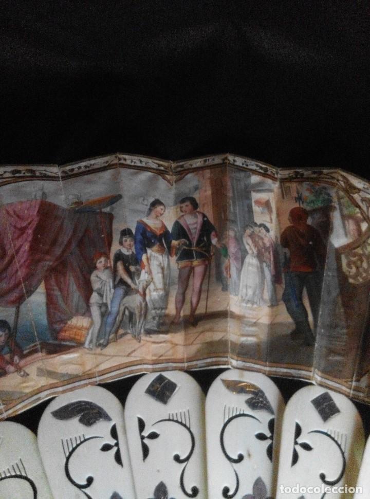Antigüedades: ANTIGUO ABANICO DE MARFIL CON MAGNIFICA DECORACION - Foto 9 - 80045429