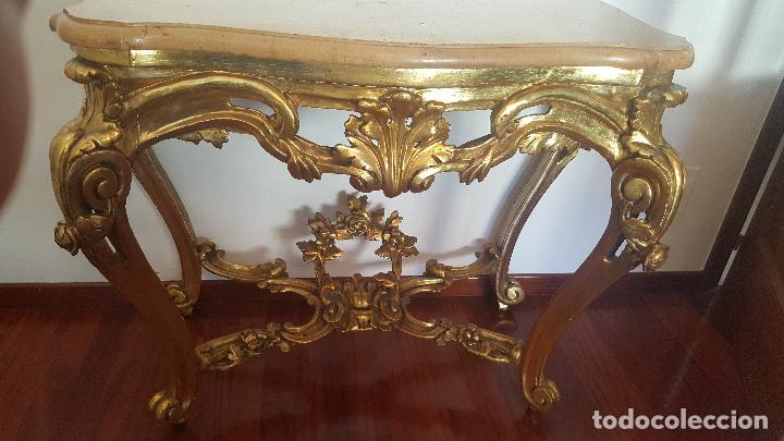 Antigüedades: Mueble antiguo. Consola dorada Isabelina. - Foto 2 - 80050653