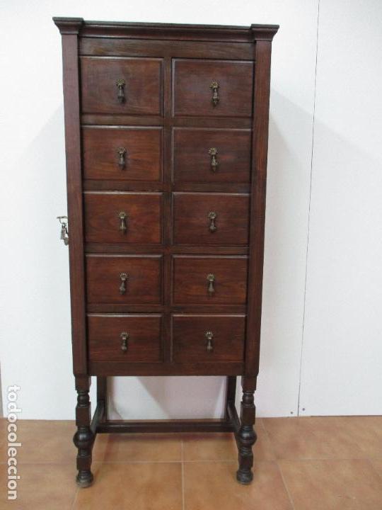 Antiguo Mueble Archivador   Para Fichas, Postales, Etc   Madera De Haya    Años 40