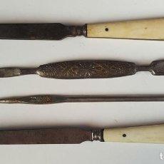 Antigüedades: CONJUNTO DE UTENSILIOS PARA MANICURA. MANGOS EN HUESO. CIRCA 1940. . Lote 80078853