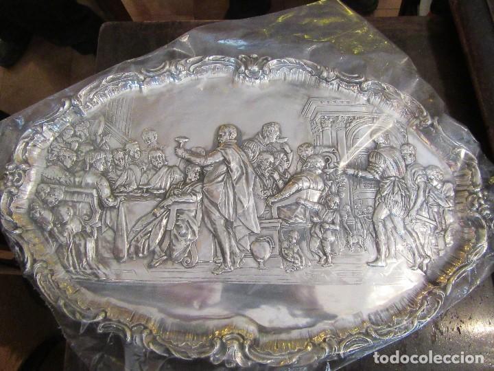 ANTIGUA BANDEJA PLATEADA, BODAS DE CANAÁN (Antigüedades - Plateria - Varios)
