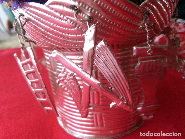 Antigüedades: Excelente Cestillo de plata para Virgen Pastora - Foto 2 - 80104793