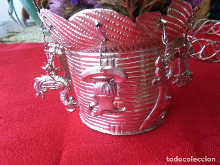 Antigüedades: Excelente Cestillo de plata para Virgen Pastora - Foto 4 - 80104793
