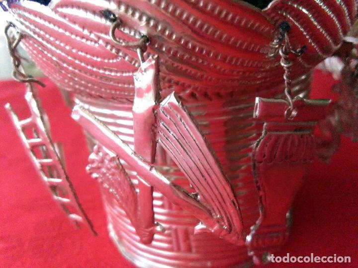 Antigüedades: Excelente Cestillo de plata para Virgen Pastora - Foto 6 - 80104793