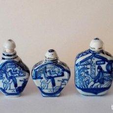 Antigüedades: LOTE DE 5 PERFUMEROS O SNUFF BOTTLE DE CHINA, CON ESCENAS ERÓTICAS. Lote 80106209