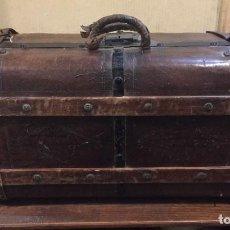 Antigüedades: ANTIGUA MALETA DE MADERA Y PIEL. Lote 80114669