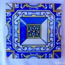 Antigüedades: ANTIGUO AZULEJO, CON CUADRADO CENTRAL. Lote 80133293