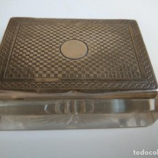 Antigüedades: TINTERO PLATA Y CRISTAL. FRANCIA SXIX. Lote 80170277