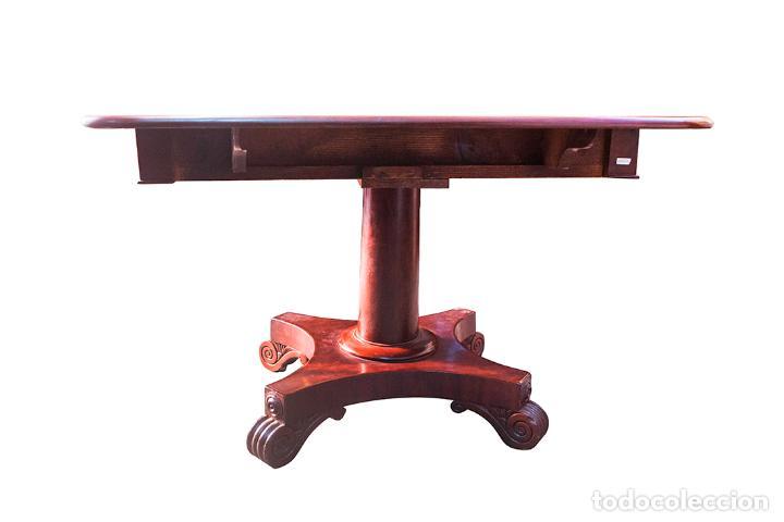 Antigüedades: Mesa de Comedor - Victoriana - Madera de Caoba - 2 Alas y Cajón - 107 cm Largo, 117 Ancho - S. XIX - Foto 5 - 80180205
